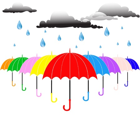 Umbrella and rain Stock Vector - 20366582