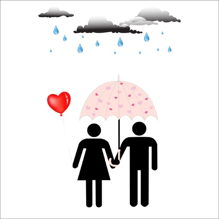 Love Under Pink umbrella,Love and rain Vector