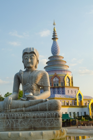 tha: Buddha statue and Pagoda at Tha Ton temple
