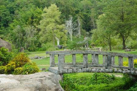 Stone bridge in a garden at Fang hot spring photo