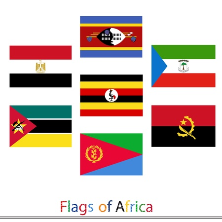 Set of flags Africa vector Vector