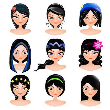 cute girl with long hair: face of women cartoon