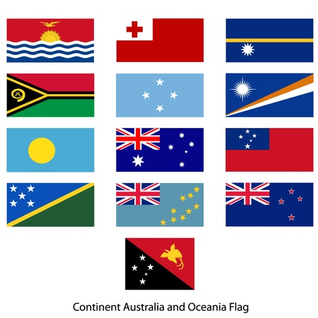 micronesia: Flag Continent Australia and Oceania vector set