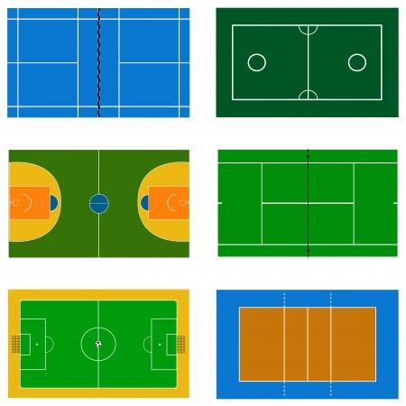 terrain de basket: Ensemble de vecteur de terrain de sport Illustration