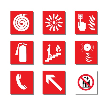 firefighting: Fire equipment signs vector