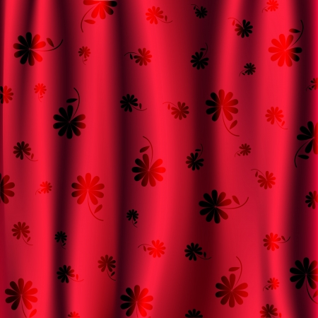 blinds: Red blinds with flower pattern vector  Illustration