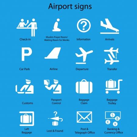 Set of airport signs and symbols vector on blue