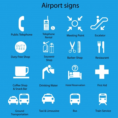 Set of airport signs and symbols vector on blue Vector