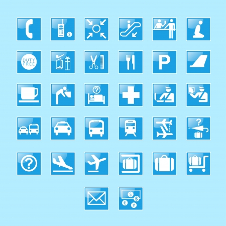 Set of airport signs and symbols vector Vector