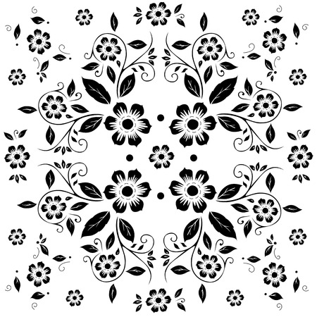 Flower pattern,black and white flora on white background Vector