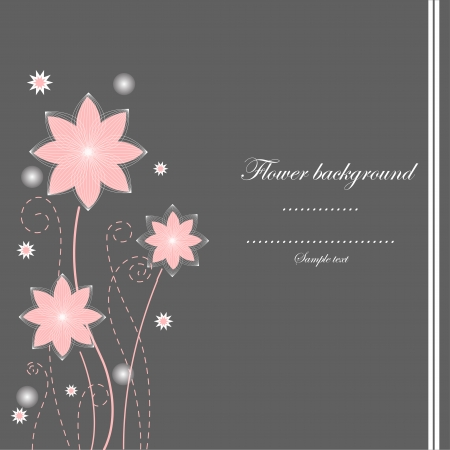 Gray and pink flower vector background Vector