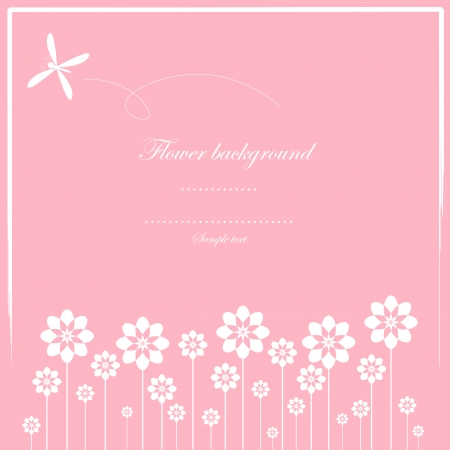 Cute card vector and white flower pattern
