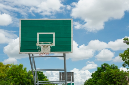 the height of a rim: Basketball hoop on clear day