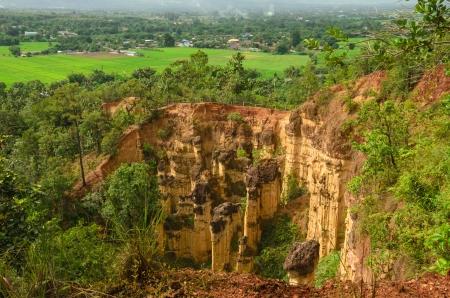 Big Sandstone cliffs in Thailand photo