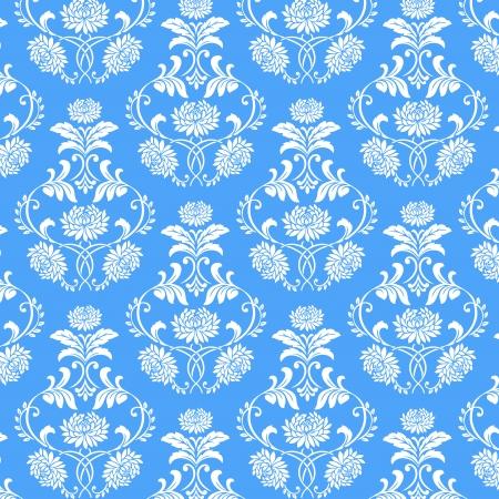 naadloze witte bloem patroon op blauwe achtergrond, vector bloem op blauwe achtergrond