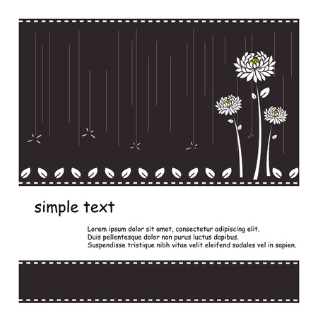 Black background with white flower and rain vector Stock Vector - 22992838