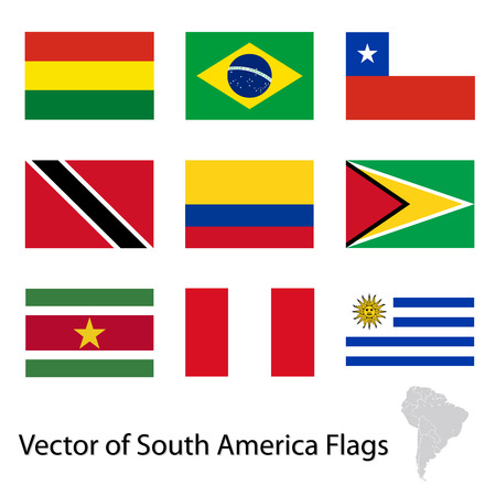 Flags of South America Vector