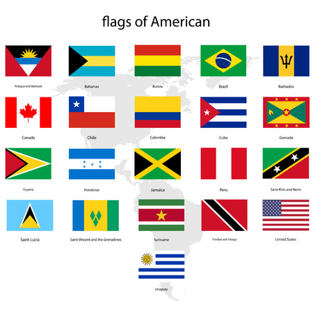 canada flag: Set of  American flags and map vector Illustration