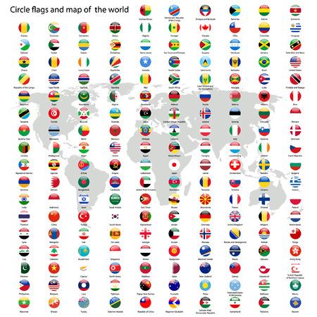 Cirkel vlaggen van de wereld en kaart vector Stock Illustratie