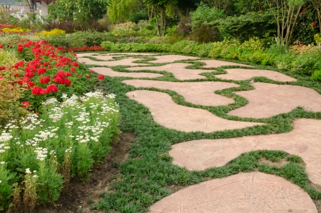 pathway design and flower in garden at the King Royal Flora Ratchapruek Chiangmai,Thailand photo