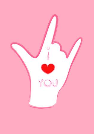 Hands symbol of I love you Vector