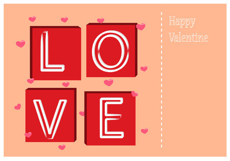 Love text and heart vector of valentine s day Vector