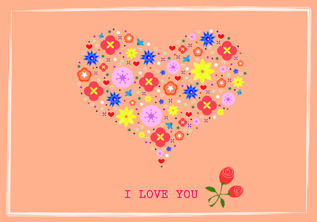 Heart shape flowers vector background Vector