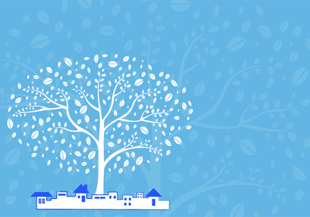 tree vector in the city with azure background Vector