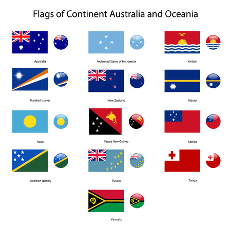 oceania: flags of continent australia and oceania  Illustration