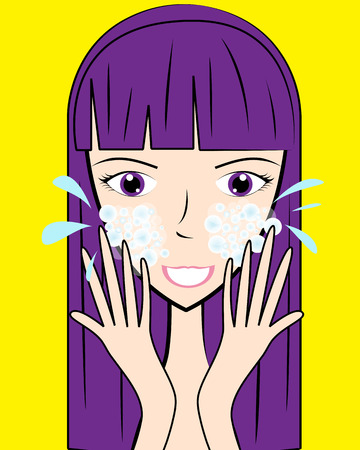 cartoon washing face Vector