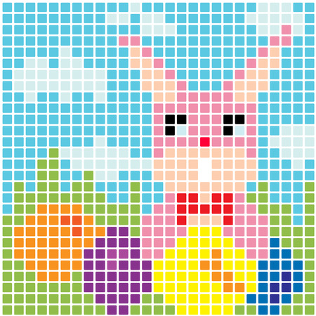 Easter bunny and eggs vector background  Stock Vector - 27681989