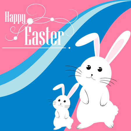 Easter bunny and eggs vector background Stock Vector - 27681992