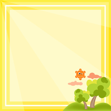 Natural frame cartoon vector on yellow background