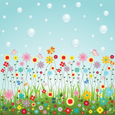 Nature of flowers vector for cute card or website decorating photo