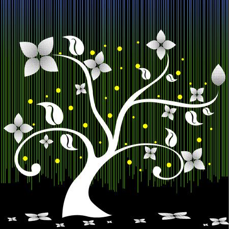 Flower tree vector design on black background Vector