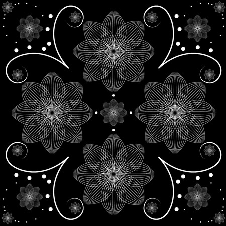 Vector illustration of white floral design over black background Vector