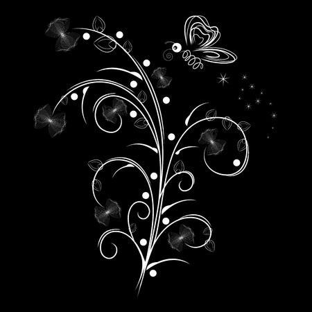 Vector illustration of white floral design over black background Illustration