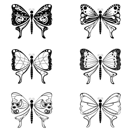 Set of butterfly vector shape Vector