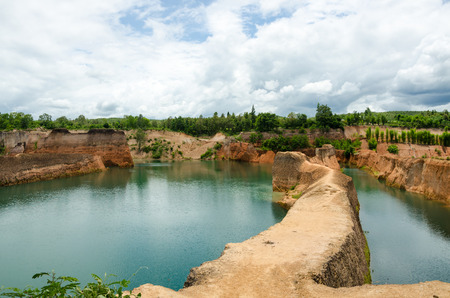 Large reservoirs and high mound in Thailand Stock Photo