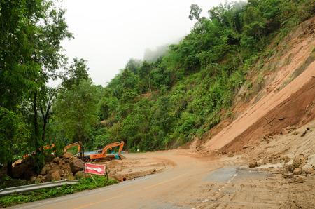 land slide: Natural disasters, landslides during the rainy season in Thailand