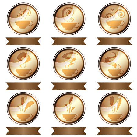 set of coffee cup icon designs isolated Vector