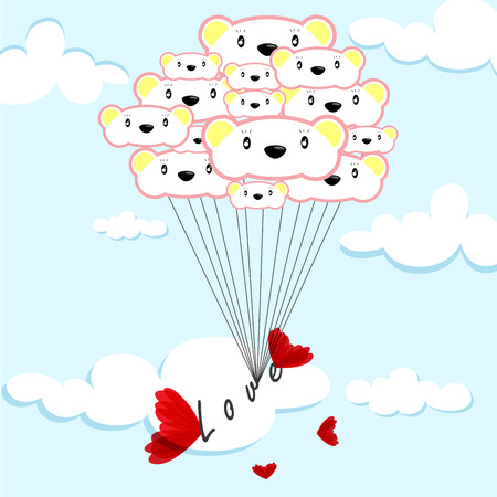 cute bear balloons and love text in the azure sky Vector