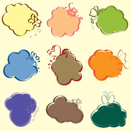 set of cute speech illustrator Vector