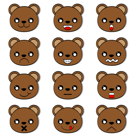 angry teddy: Face emotions of bear vector
