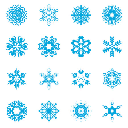 snowflake vector illustrator set for christmas card or website Vector