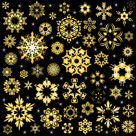 beauty of golden snowflake vector background Vector