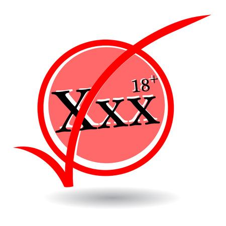 plus icon: XXX text and eighteen plus icon on white background