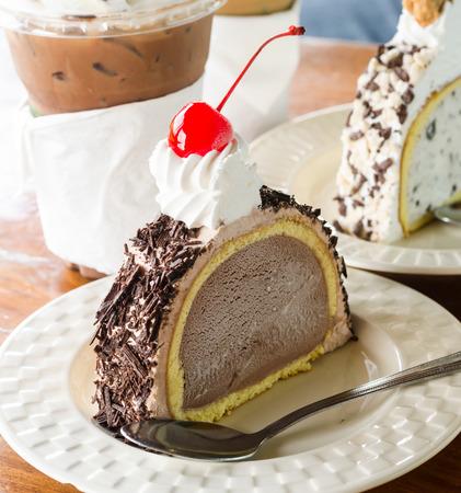 Ice cream cake chocolate and cherry photo