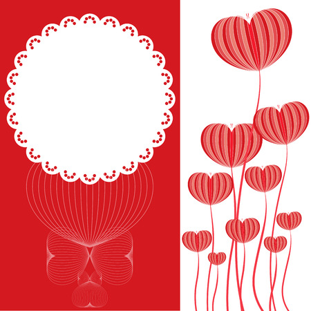 white card: heart flower shape on red and white card Illustration