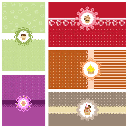 cute cupcake collection card  Vector